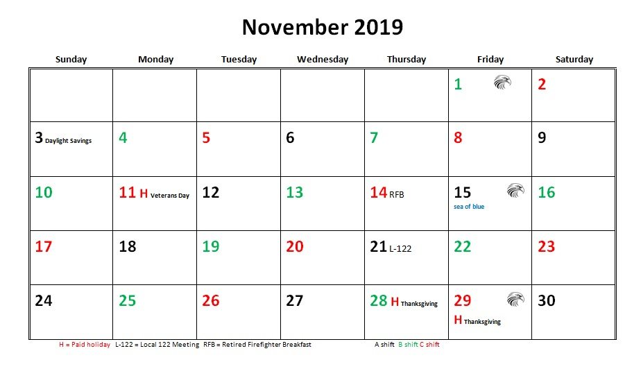 JFRD 56 Hour Firefighter Shift Calendar 2019