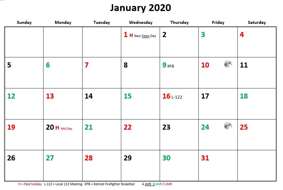 JFRD 56 Hour Firefighter Shift Calendar 2020